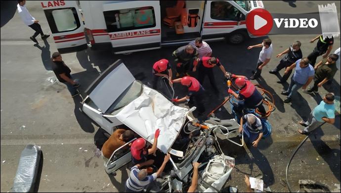 Abide Kavşağı'nda feci kaza: 2'si ağır 5 yaralı-(VİDEO)