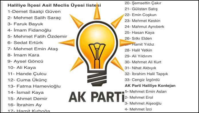 Ak Parti Haliliye Meclis üyesi Listesi Açıklandı