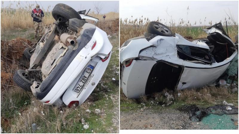 Akçakale'de Otomobil devrildi: 1 ölü, 1 Ağır yaralı