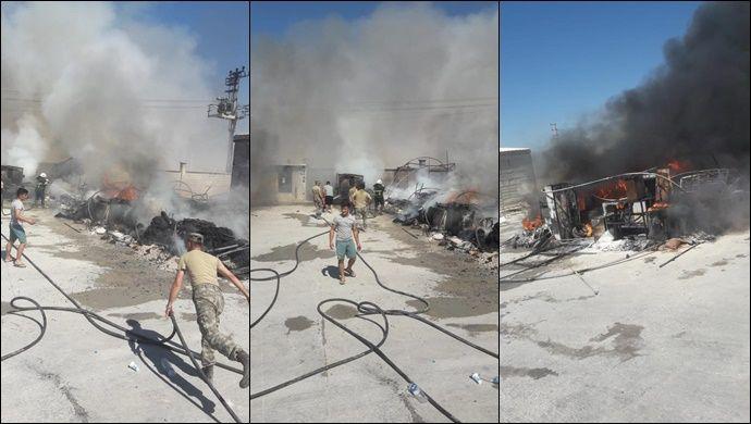 Akçakale'deki Çadırkentte Yangın: İtfaiye Müdahale Etti