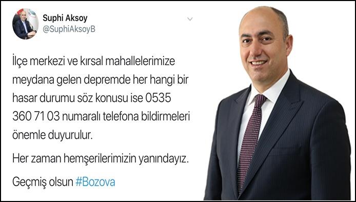 Başkan Aksoy'dan  Deprem Açıklaması