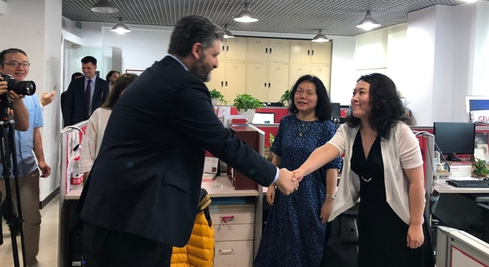 Büyükelçi Önen'den Çin CRI yayın kuruluşuna ziyaret