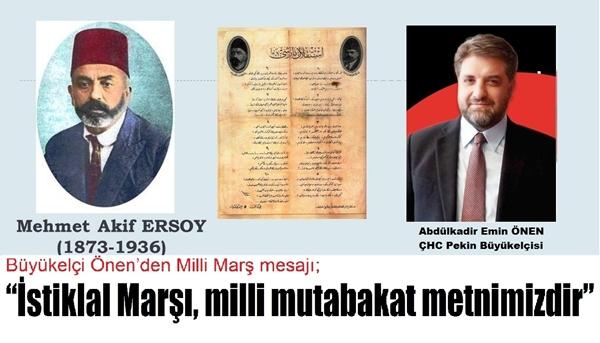 Büyükelçi Önen'den Milli Marş mesajı;