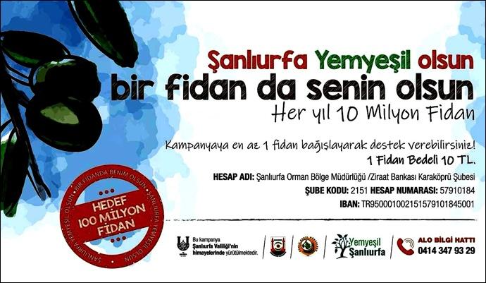 Büyükelçi Önen'den Yemyeşil Urfa kampanyasına 100 fidan