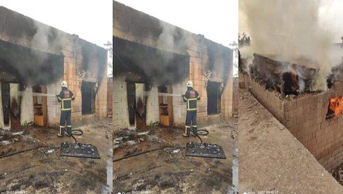 Ceylanpınar'da Mesken yangını,1 yaralı