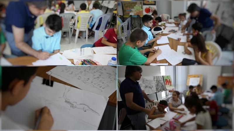 Çocuklar, haliliye belediyesi ile resim yapmayı öğreniyor