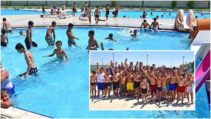 Çocuklar Yüzmeye Ceylanpınar Belediyesi İle