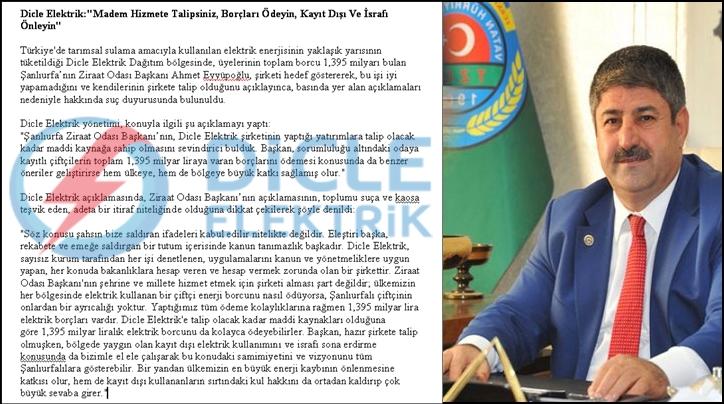 DEDAŞ'tan Ziraat odası başkanı Eyyüpoğlu hakkında suç duyurusu