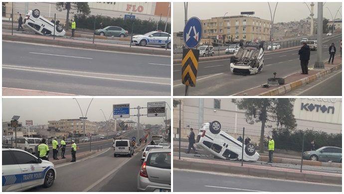 Direksiyon hakimiyetini kaybeden sürücü takla attı