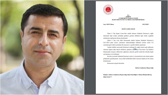 Edirne Cumhuriyet Başsavcılığı'ndan Demirtaş ilişkin açıklama