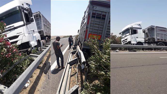 Gübre taşıyordu: Bariyerlere çarpıp durabildi-(VİDEO)