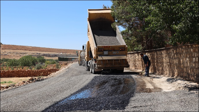Halfeti kırsal yollarında asfalt seferberliği-(VİDEO)