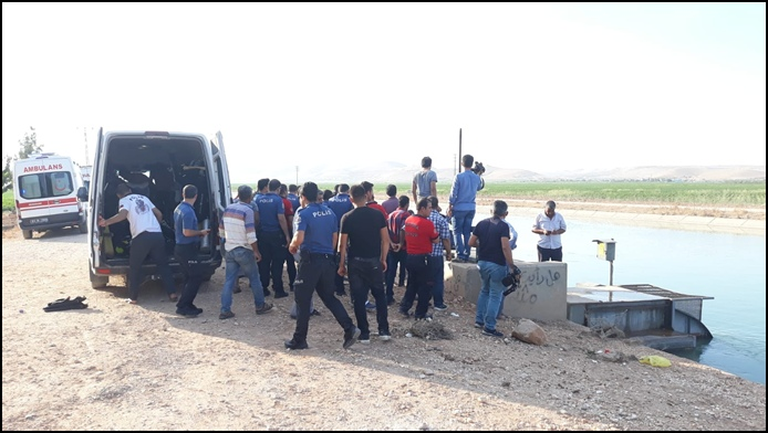 Haliliye'de Kamyonet sulama kanalına devrildi