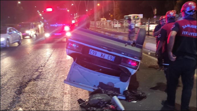 Haliliye'de otomobil takla attı:1 yaralı