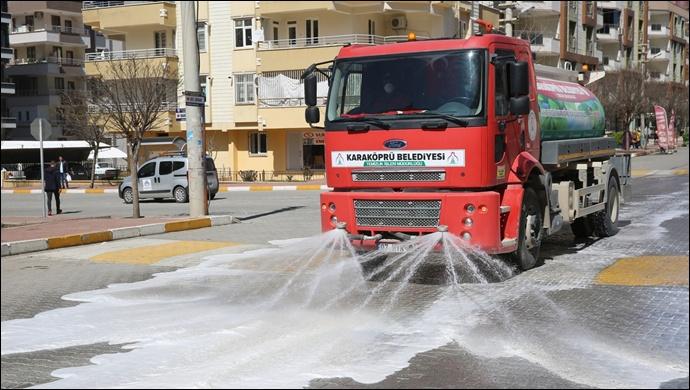 Karaköprü'de Cadde Ve Sokaklar Dezenfekte Ediliyor-(VİDEO)