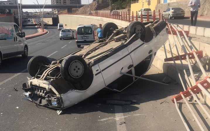 Karaköprü'de feci kaza: Otomobil takla attı