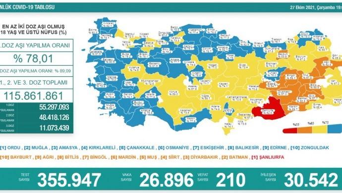 Koronadan 210 kişi daha hayatını kaybetti