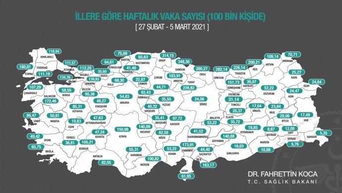Koronavirüs risk haritası güncellendi