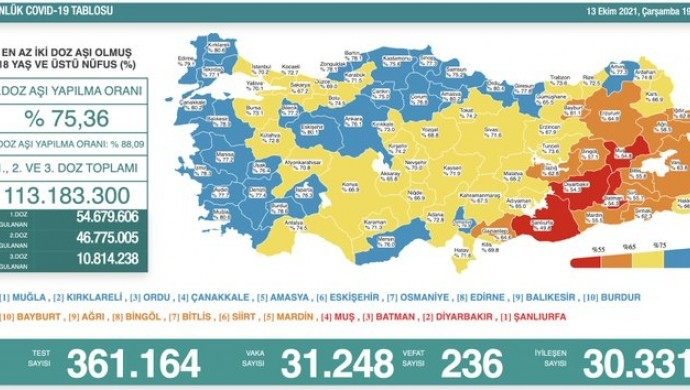 Kovid-19'dan 236 yeni vefat