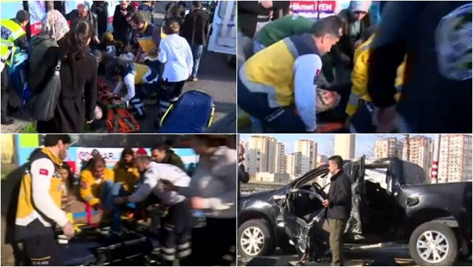 Polis aracı halk otobüsüne çarptı: 16 yaralı