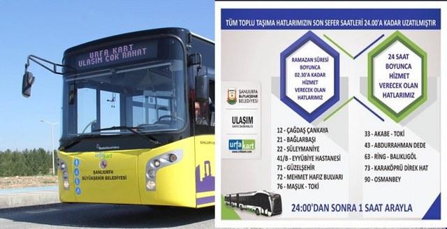 Şanlı Şehir'de Ramazanda Toplu Taşıma 24 Saat Hizmet Verecek