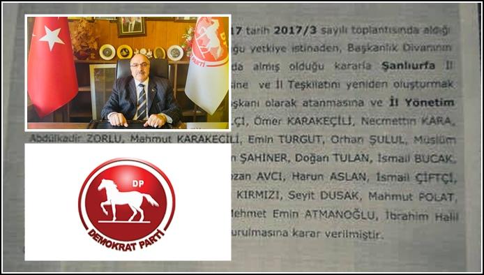 Şanlıurfa'da DP'nin Yeni Yönetimi Belli Oldu