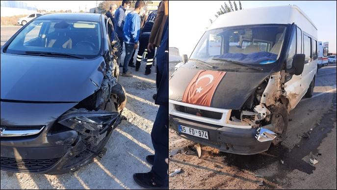Şanlıurfa'da otomobil ile minibüs çarpıştı:1 yaralı