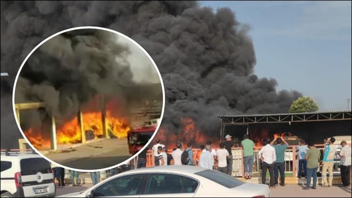 Şanlıurfa'da Sebze Hali'nde yangın çıktı: İtfaiye Müdahale Etti-(VİDEO)