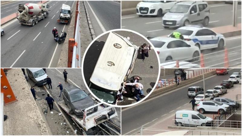 Şanlıurfa'da Zincirleme Kaza:3 yaralı-(VİDEO)