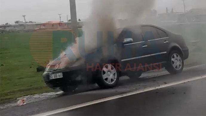 Siverek'te seyir halindeki otomobil cayır cayır yandı