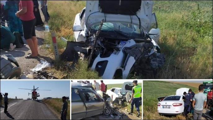 Tarım işçilerini taşıyan iki araç kaza yaptı: 3'ü ağır 9 yaralı