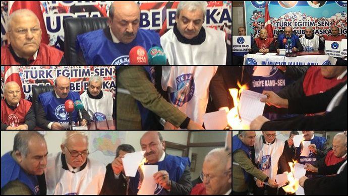 Türkiye Kamu-Sen Üyeleri Şanlurfa'da Bordro Yaktı