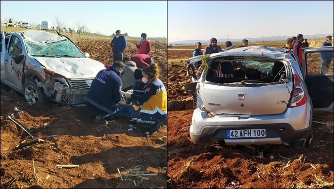 Urfa'da direksiyon hakimiyetini kaybeden otomobil tarlaya uçtu! 6 kişi yaralandı