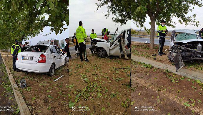 Urfa'da kaza yapan otomobil orta refüje uçtu