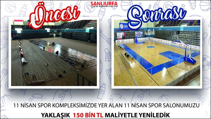 Urfa'daki 11 Nisan Kapalı Spor Salonu Yenlendi