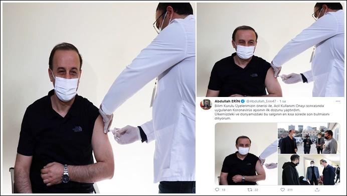 Vali Abdullah Erin'de koronavirüs aşısı oldu