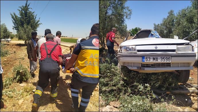 Viranşehir'de otomobil şarampole devrildi: 1 yaralı