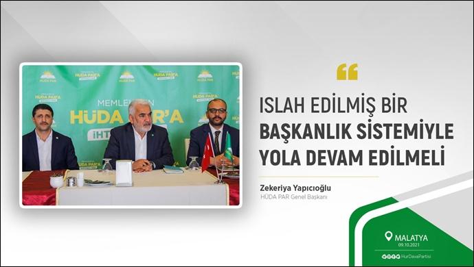 Yapıcıoğlu: Islah edilmiş bir Başkanlık sistemiyle yola devam edilmeli
