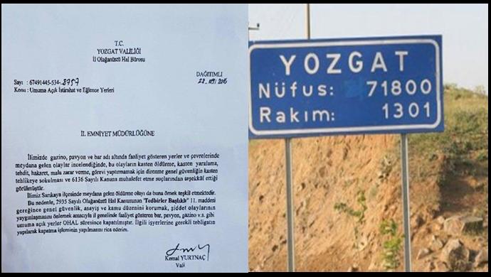 Yozgat'ta tüm içkili mekanlar OHAL kapsamında kapatıldı